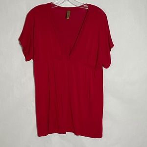 Lush casual short sleeve V Neck top red large